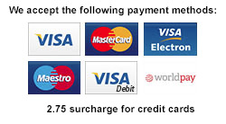 We accept VISA, Master Card, Maestro, and World Pay
